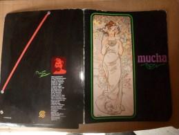 """1981  Chemise De Classement Ou Porte-document Fantaisie  Décoration Mucha  """" La ROSE """"  Avec Sa Biographie - Other Collections"""