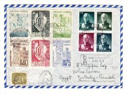 Portugal - R-Brief 1.4.1950 Von Lisboa Nach Egypten Flug Transit Und Ankunfts Stempeln - Lettres & Documents