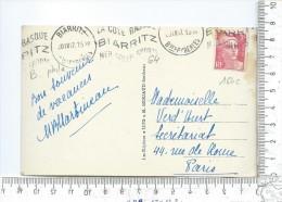 """OBLITERATION MECANIQUE De Biarritz 1947 Sur 3 Fr Marianne De Gandon Sur Carte """" Rocher Du Basta """" - Marcofilie (Brieven)"""