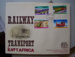 KENYA 1976 ILLUSTRATED OFFICIAL  FDC With FULL SET (4 Values) Of The RAILWAY TRANSPORT Issue. - Kenya (1963-...)
