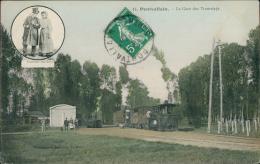 72 PONTVALLAIN / La Gare Des Tramways / CARTE COULEUR - Pontvallain
