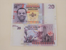2010 Central Bank Of Swaziland,20 Emalangni , Last 3 Serial Number Specially With 888 - Swaziland