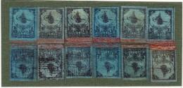 Türkei - TOUGHRA Ausgabe Mi.# 3/II 1862/64 2 Pia Schwarz Auf Blau (x12) -  9 * + 3 Gestempelt - Neufs