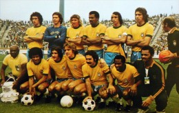 CARTEL AFFICHE REPRODUCTION - BRASIL TEAM 22/6/74 WORLD CUP GERMANY 74 SIZE:45X32 CM. APROX. - Afiches