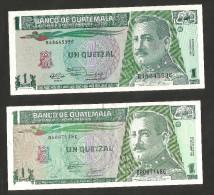 [NC] GUATEMALA - BANCO De GUATEMALA - 1 QUETZAL (1991 / 1994) - LOT Of 2 DIFFERENT BANKNOTES - Guatemala