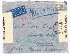 Schweden - Zensur. Luftpost Brief 22.12.1939 Nach Nairobi Kenya Weitergel. Nach Masaka Uganda - Suède