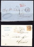 """2 Brief Schiffstempel """"Piroscafi Postali Francesi"""" Rot Auf Brief Von Constantinople Und Von Marseille, Beide Nach Genova - Poststempel - Freistempel"""