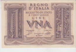 Italy 1 Lira 1939 Pick 26 XF - Italy