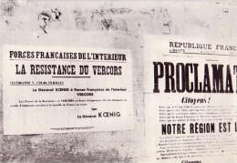 MILITARIA.GUERRE 39/45.HISTOIRE VECUE DE LA RESISTANCE.DOCUMENT REPRODUIT.EGLISE DE VASSIEUX .AFFICHE  PAR KOENIG - Reproductions