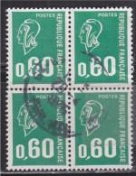 = Bloc 4 Timbres Oblitérés Type Marianne De Béquet N° 1814a - 60c Vert Typographié, Sans Phosphore - 1971-76 Marianne (Béquet)