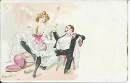 Illustrateur G. MOUTON... Homme Attablé, Femme Danseuse French Cancan, Bas Noirs, Champagne - Other Illustrators