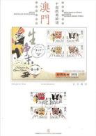 Macau 1998 Chinese Masks Opera On Presentation Page - 1999-... Chinese Admnistrative Region