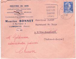 """1958- Enveloppe Affr. 20 F.  Oblit. DAGUIN """" LUSIGNAN / QUIETUDE / CAMPING / SPORTS - Marcophilie (Lettres)"""