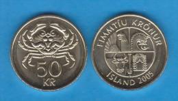 ISLANDIA / ICELAND  50 Coronas 2.005  2005  Niquel-Latón KM#31  SC/UNC  T-DL-10.790 - Islandia
