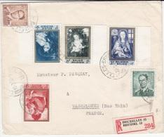BELGIUM REGISTERED COVER 19/03/1962 COB 1199, 1200, 1202 & 1203 BRUXELLES VERS WASSELONNE FRANCE - Lettres & Documents