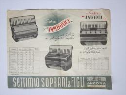 """Depliant/volantino """"Serie AMPLIFONIA-ASTORIA. Settimio Soprani & Figli. CASTELFIDARDO (Ancona) Fisarmoniche/fisarmonica - Pubblicitari"""