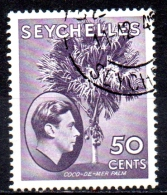SEYCHELLES 1938 George VI -  Coco De Mer Palm -  50c. - Violet   FU - Seychelles (...-1976)