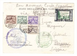 Vatikan -  Zeppelin AK Nach Biasca TI Zusatzmarke Italien Luftschiff Stempel - Bitte Lesen.... - Vatican