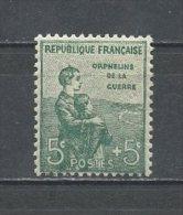 FRANCE 1917  N° 149 * Neuf  Infime Trace De Charnière = MH  TTB  Cote  25 €  Orphelins De La Guerre - France