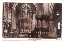 RP St Hildeburgh CHURCH OF ENGLAND INTERIOR HOYLAKE THE WIRRAL POSTCARD USED 1945 - England