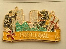 PIN´S POET LAVAL - DROME -  CARTOUCHE JAUNE - SIGNE ATLANTIS - Villes
