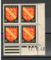 N° 756**_17/6/46 - Coins Datés