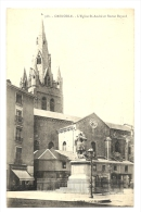 Cp, 38, Grenoble, L'Eglise St-André Et Statue Bayard - Grenoble