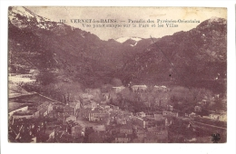 Cp, 66, Vernet-les-Bains, Vue Panoramique Sur Le Parc Et Les Villas, Voyagée 1927 - Francia