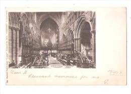 """RAPHAEL TUCK Chester Cathedral Choir EARLY UNDIVIDED BACK POSTCARD COUNTY POSTCARD No. 2073  """"CHESHIRE"""" - Chester"""