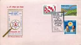 1984  Première Exposition Philatélique Inter-écoles  Enveloppe Souvenir - Nepal