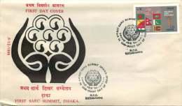 1985  Sommet Du SARC  Drapeaux  FDC Non Adressé - Nepal