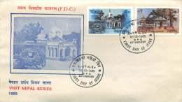 1985 Monuments Népalais  Temples   FDC Non Adressé - Nepal