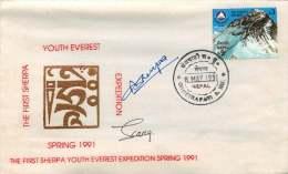 1991  Première Expédition Des Jeunes Sherpa Printemps 1991  Enveloppe Souvenir Signée - Nepal