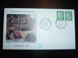 LETTRE TP MARIANNE DE CHEFFER 0,30F X2 OBL. 21-10-1974 CONGRES DU PARLEMENT VERSAILLES (78 YVELINES) - Marcofilie (Brieven)