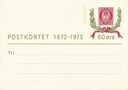 NORVEGE - 2 Cartes (entiers Postaux) - POSTKORTET 1872-1972 - Entiers Postaux