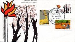 AUSTRALIE. N°554-6 De 1975 Sur Enveloppe 1er Jour (FDC). Dangers Pour L'environnement/Incendie. - Environment & Climate Protection