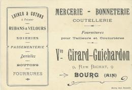 CARTE VISITE VVE GIRARD-GUICHARDON BOURG EN BRESSE AIN MERCERIE BONNETERIE - Cartes De Visite