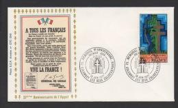 DF / CHARLES DE GAULLE / LETTRE / TP 1941 MEMORIAL / OBL 18 JUIN 1977 COLOMBEY LES DEUX EGLISES / TEXTE DE L' APPEL - De Gaulle (Général)