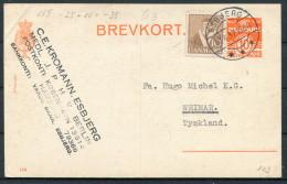 1937 Denmark Esbjerg Uprated Stationery Brevkort - Weimar Germany - Covers & Documents