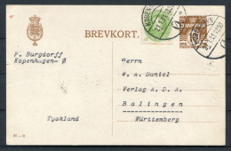 1931 Denmark Copenhagen Burgdorff Uprated 10ore Brevkort - Balingen Wurttemberg - Covers & Documents