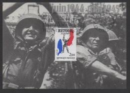 DF / CHARLES DE GAULLE / CARTE POSTALE / TP 2368 RETOUR A LA PAIX / OBL 8 MAI 1985 PARIS / FLAMME APPEL 18 JUIN - De Gaulle (General)