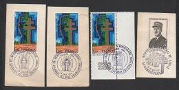 DF / CHARLES DE GAULLE / 3 TP 1941 MEMORIAL  OBL 18 JUIN 1977 COLOMBEY / TP 1695 OBL 59 WAMBRECHIES 22-23 OCT 1977 - De Gaulle (General)
