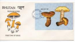 2 Sobre De Primer Dia De Bhutan De 1989 - Paddestoelen