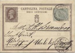 Italia Cartolina Postale/Carte Postale Torino 1876 To Belgio/Belgium/Belgium Uccle C.d´arrivée Incoming PR748 - 1861-78 Victor Emmanuel II.