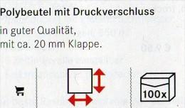 Lindner #788 Größere 100-Polybeutel Mit Verschluß Neu 18€ Schutz/Einsortieren 220x310mm For Coins,stamps+letter Of World - Zubehör
