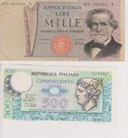 Italie Lot 2 Billets 500 Et 1000 Lire - [ 2] 1946-… : République