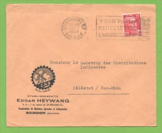 Strasbourg R.P.  Bas Rhin 1949  Flamme   Entête : Étb. Edgar Heywang Construction De Machines Agricoles Et .. Bourgheim - Marcophilie (Lettres)
