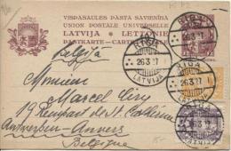 Latvija-Lettonie Pastkarte-Carte Postale Riga 1927 To Belgium PR756 MI P2 - Lettonie