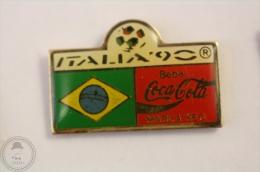 Italy 1990 FIFA World Cup - Flag Of  Brasil - Coca Cola Pin Badge #PLS - Coca-Cola