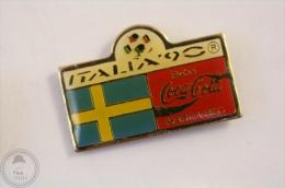 Italy 1990 FIFA World Cup - Flag Of Sweden - Coca Cola Pin Badge #PLS - Coca-Cola